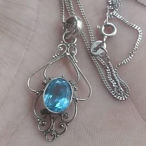 Vintage Sterling/Auqamarine  necklace